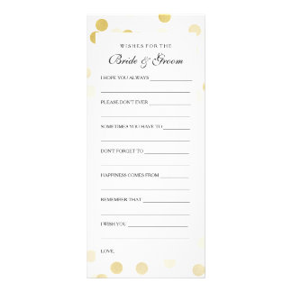 Wedding Shower Wishes Faux Gold Foil Glitter Light Personalized Rack Card