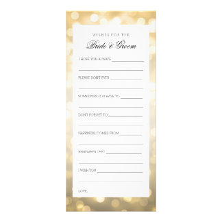 Wedding Shower Wishes Gold Glitter Lights Customized Rack Card