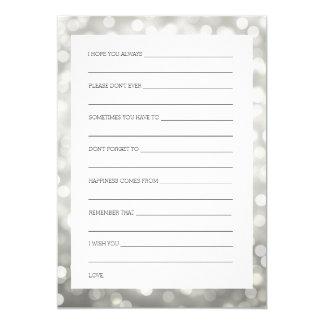 "Wedding Shower Wishes Silver Glitter Lights 5"" X 7"" Invitation Card"