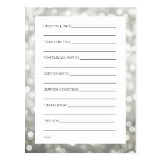 Wedding Shower Wishes Silver Glitter Lights Postcard