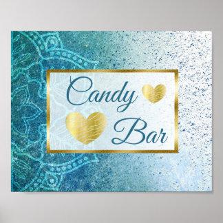 Wedding Sign Candy Bar Blue Mandala