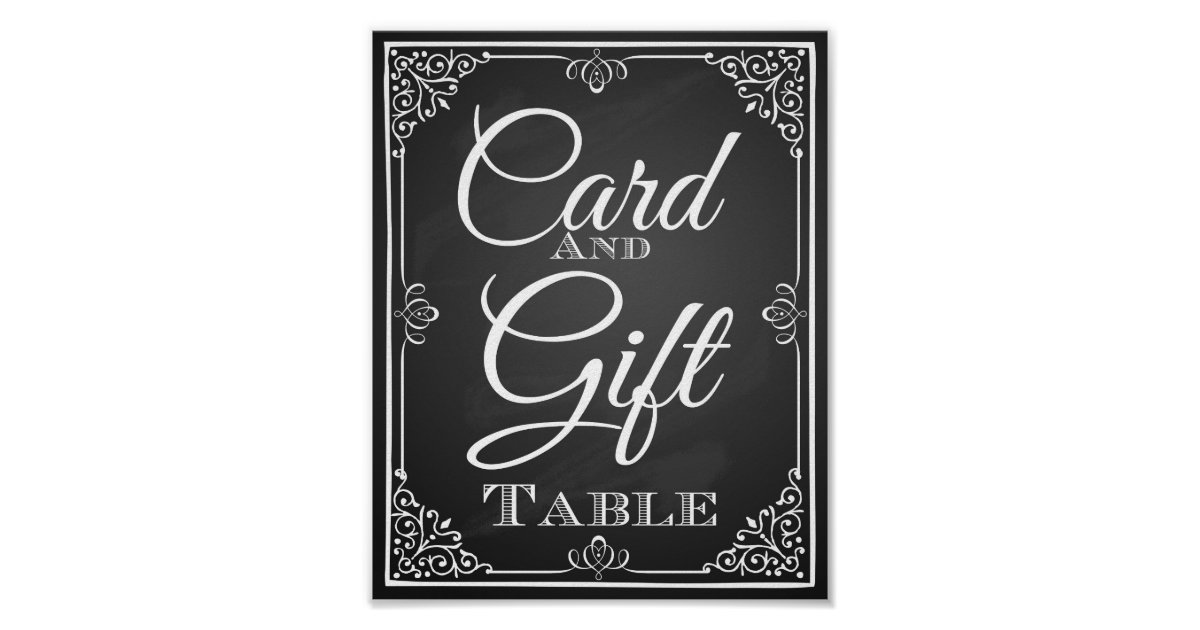 Wedding sign card and gift table for Table 6 gift card