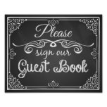 Wedding sign chalkboard guest book posters