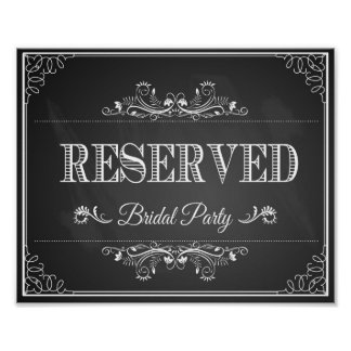 """Wedding sign chalkboard """"Reserved"""" bridal party Poster"""