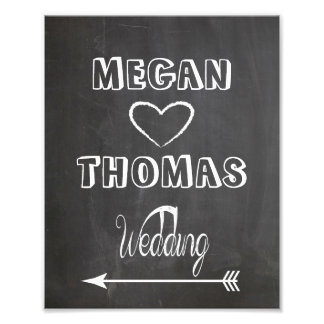 Wedding sign Chalkboard style  party way left Art Photo