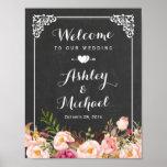 Wedding Sign Classy Vintage Chalkboard Floral