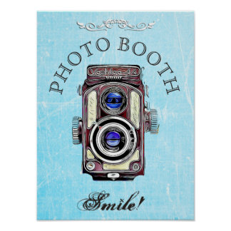 Wedding Sign for Photo Booth,  Blue Vintage Camera Poster