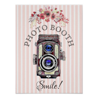 Wedding Sign for Photo Booth, Coral  Floral Camera