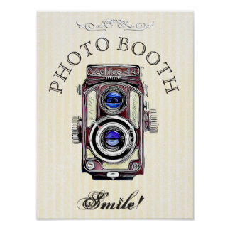 Wedding Sign for Photo Booth, Cream Vintage Camera Poster