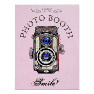 Wedding Sign for Photo Booth,  Pink Vintage Camera Poster