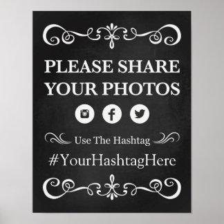 Wedding Sign – Hashtag Wedding Chalkboard Sign
