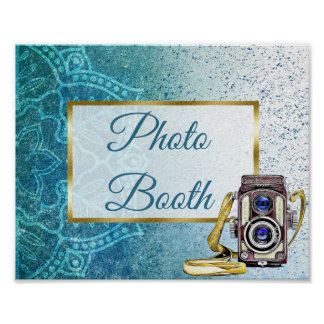 Wedding Sign Photo Booth Blue Mandala