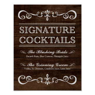 Wedding Sign – Signature Cocktail Rustic Wedding S