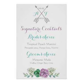 Wedding sign signature cocktails bothanical flower