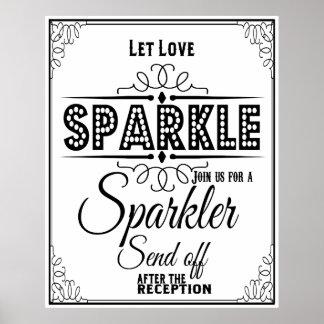 Wedding sign Sparkle send off poster