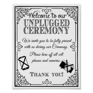 Wedding sign unplugged wedding vintage chalkboard