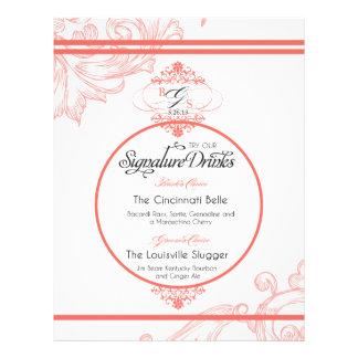 Wedding Signature Drink     Coral Letterhead