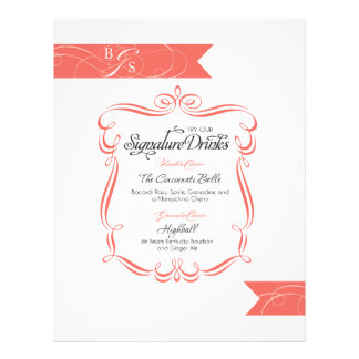 Wedding Signature Drink  |  Coral Customized Letterhead