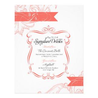 Wedding Signature Drink     Coral Letterhead Template