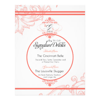 Wedding Signature Drink  |  Coral Letterhead Template
