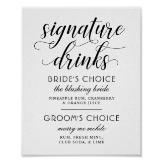Wedding Signature Drinks Poster Sign | Black White