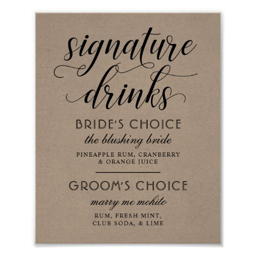 Wedding Signature Drinks Poster Sign   Kraft Brown