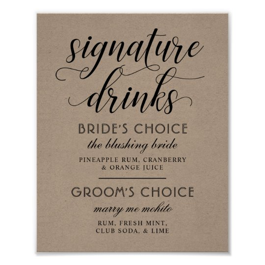 Wedding Signature Drinks Poster Sign | Kraft Brown