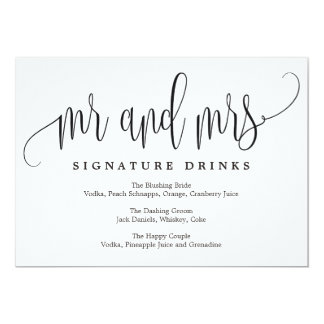 Wedding Signature Drinks Sign - Lovely Calligraphy Card