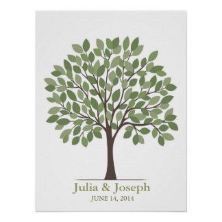 Wedding Signature Tree Poster – Natural Green