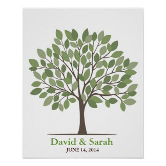 Wedding Signature Tree Poster – Natural Green–MED