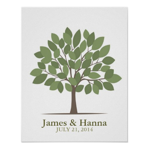 Wedding Signature Tree Poster – Natural Green–SM