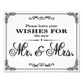 Wedding signs Black & White wishes Photo Art