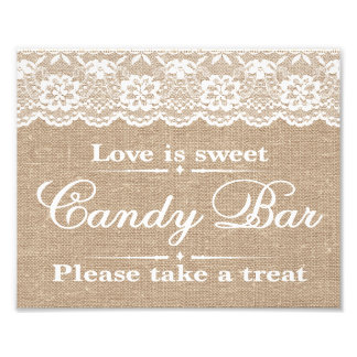 Wedding Signs - Burlap & Lace - Candy Bar - Photograph