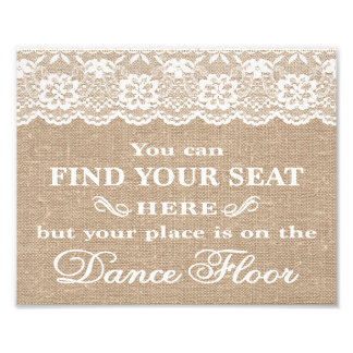 Wedding Signs - Burlap & Lace - Find Your Seat - Photograph