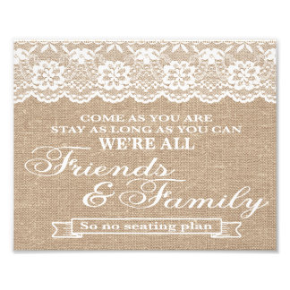Wedding Signs - Burlap & Lace - Freinds & Family - Photographic Print