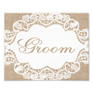 Wedding Signs - Burlap & Lace - Groom - Photograph