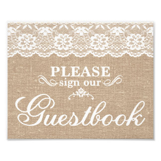Wedding Signs - Burlap & Lace - Guestbook - Photo