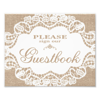 Wedding Signs - Burlap & Lace - Guestbook - Photographic Print
