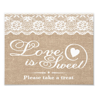 Wedding Signs - Burlap & Lace - Love is Sweet - Art Photo