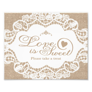 Wedding Signs - Burlap & Lace - Love is Sweet - Photo Print