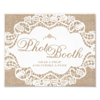 Wedding Signs - Burlap & Lace - Photo Booth -