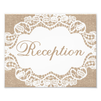 Wedding Signs - Burlap & Lace - Reception - Photographic Print