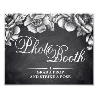 Wedding signs - chalkboard floral - Photo Booth -