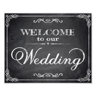 Wedding signs chalkboard welcome photographic print