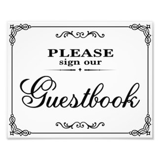 Wedding signs - Please sign our gusestbook - Photographic Print