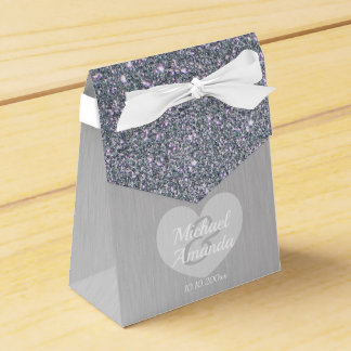 Wedding Silver Glitter Personalized Favor Box
