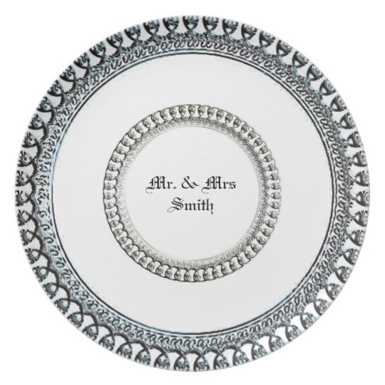 """Wedding Silver"" NAME-TEMPLATE_Jewel-White Plate"