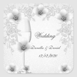 Wedding Silver White Floral Blossoms Roses Stickers