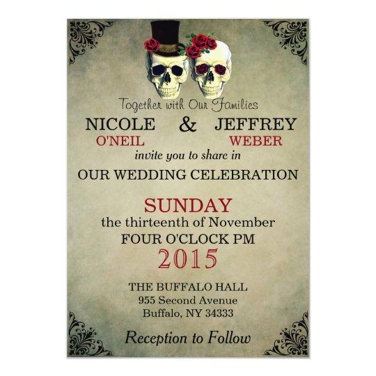Wedding Skeleton Bride Groom Skulls Invitation