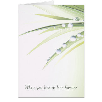 wedding-sparkling dewdrops on leaf card